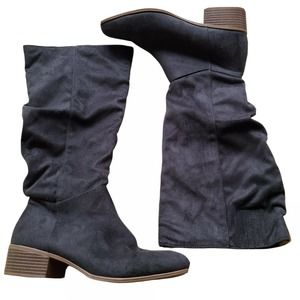 Candie's Faux Suede Dark Gray Knee Boots Size 8.5